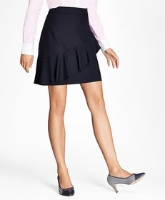 Brooks Brothers Ruffled Stretch-Wool Skirt