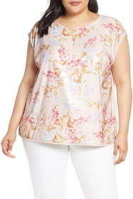 Vince Camuto Wildflower Sequin Top (Plus Size)