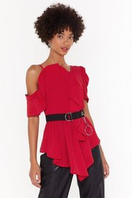 Nasty Gal Womens Red Totally Shoulder It Asymmetri