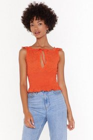Nasty Gal Womens Orange Oh Happy Anglaise Shirred