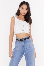 Nasty Gal Womens White Oh Broderie Sis Crop Top