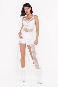 Nasty Gal Womens White Star-t the Party Mesh Longl