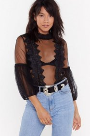 Nasty Gal Womens Black Mesh Full Sleeve Blouse