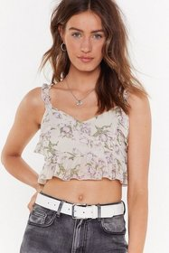 Nasty Gal Womens White Floral I Care Ruffle Crop T