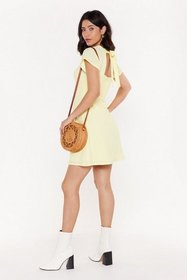 Nasty Gal Womens Lemon Tie Your Luck Shirred Tie D