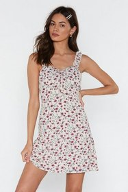 Nasty Gal Womens Cream Frill Strap Floral A-line M