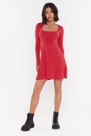 Nasty Gal Womens Red Double Flare Ya Ribbed Fit&Fl
