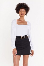 Nasty Gal Womens White Shirred Sqaure Neck L/S Top