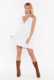 Nasty Gal Womens White Halter What You're Doing Mi