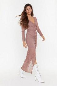 Nasty Gal Womens Mocha Hot Mesh Ruched Maxi Dress