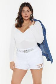 Nasty Gal Womens Cream Bust a Move Ruched Bodysuit