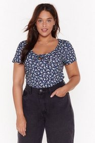 Nasty Gal Womens Navy MS Ditsy Floral Tie Front To