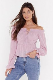 Nasty Gal Womens Blush She's Off-the-Shoulder Agai