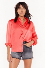 Nasty Gal Womens Coral Pocket in Satin Relaxed Shi
