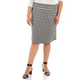 Plus Size Hounds Tooth Pencil Skirt