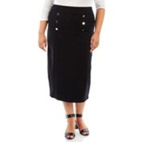 ASHLEY BLUE Sailor Ponte Midi Skirt
