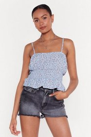 Nasty Gal Womens Blue Ditsy Rose Print Shiirred Wa
