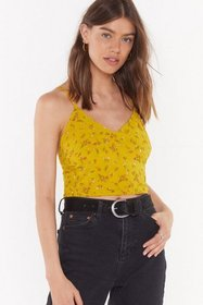 Nasty Gal Womens Mustard Seeds of Doubt Floral Str