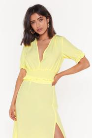 Nasty Gal Womens Lemon V My Baby Shirred Crop Top