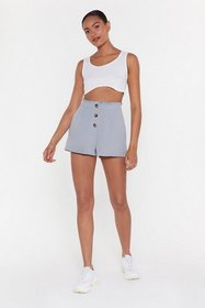 Nasty Gal Womens Blue Button Front Short