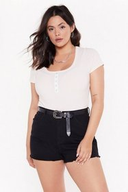 Nasty Gal Womens Ivory Snaps for You Plus Ribbed B