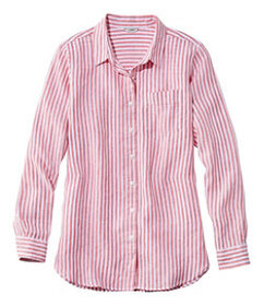 LL Bean Premium Washable Linen Shirt, Tunic Stripe