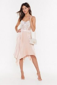 Nasty Gal Womens Champagne One Moment Pleat Satin