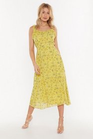 Nasty Gal Womens Lemon Open to Love Floral Midi Dr