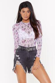 Nasty Gal Womens Lilac In Full Bloom Floral Mesh B