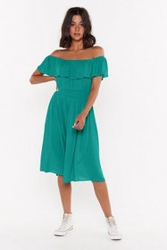 Nasty Gal Womens Green I'm a Frillseeker Off-the-S