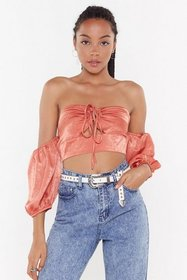 Nasty Gal Womens Terracotta Let It Satin Cold Shou