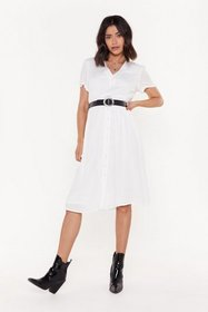 Nasty Gal Womens White More for V Button-Down Midi