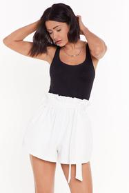 Nasty Gal Womens White Waist Not Want Not Paperbag