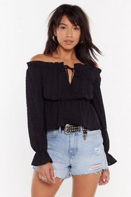 Nasty Gal Womens Black She's Off-the-Shoulder Agai
