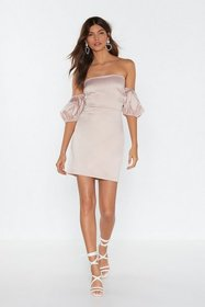 Nasty Gal Womens Nude Say No More Satin Off-the-Sh