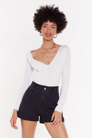 Nasty Gal Womens White Spot Your Girl Ruffle Bodys