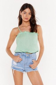 Nasty Gal Womens Mint Ruffle and Ready Cami Top