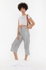 Nasty Gal Womens Grey Stripe Me Down Linen Belted
