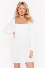 Nasty Gal Womens White MS Square Neck Long Sleeve