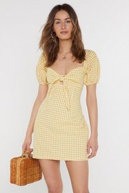 Nasty Gal Womens Yellow Gingham Tie Bust Mini Dres