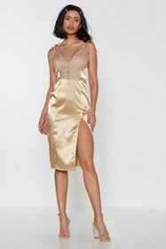 Nasty Gal Womens Caramel Let It Slip Lace Slip Dre