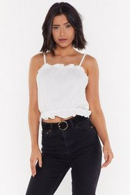 Nasty Gal Womens White Ruffle and Ready Cami Top