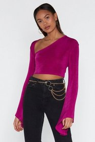 Nasty Gal Womens Purple Love and V Hold Bell Sleev