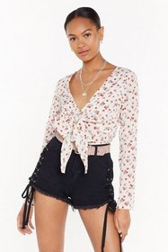 Nasty Gal Womens Cream My Tie to Shine Floral Plun