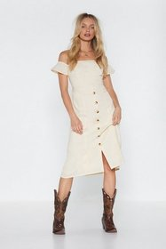 Nasty Gal Womens Cream I'm Off-the-Shoulder Midi D