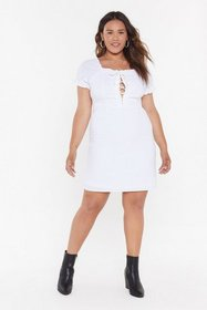 Nasty Gal Womens White Tongue-Tied Lace-Up Plus Dr