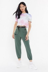 Nasty Gal Womens Khaki Driver's Seat Belted Jogger