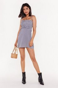 Nasty Gal Womens Blue Check Your Self Gingham Ruch