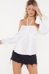 Nasty Gal Womens White Ruché Halter Blouse