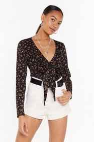Nasty Gal Womens Black My Tie to Shine Floral Plun